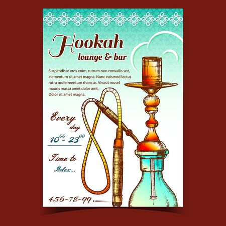 Hookah Lounge And Bar Advertising Poster Vector. Single Stemmed Hookah Whose Vapor Or Smoke Is Passed Through Water Basin Often Glass Based Inhalation. Color Designed In Retro Style Illustration