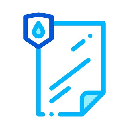 Waterproof Material File Vector Thin Line Icon. Waterproof Material Lamination Document, Industrial Use Linear Pictogram. Clothes, Moisture Absorbing Substance Illustration Ilustração