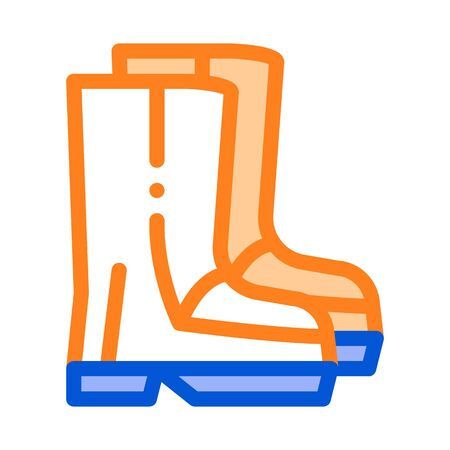 Waterproof Material Gumboots Shoes Vector Icon. Waterproof Material Felt Boots, Roller Painter Equipment, Industrial Use Linear Pictogram. Clothes, Moisture Absorbing Substance Illustration