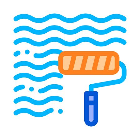 Waterproof Material Wall Paint Vector Line Icon. Waterproof Material, Roller Painter Equipment, Industrial Use Linear Pictogram. Clothes, Moisture Absorbing Substance Illustration Illusztráció