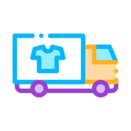 Laundry Service Delivery Vector Thin Line Icon. Truck Cargo Laundry Service, Washing Clothes Dress Linear Pictogram. Laundromat, Dry-Cleaning, Launderette, Stain Removal Illustration Ilustrace