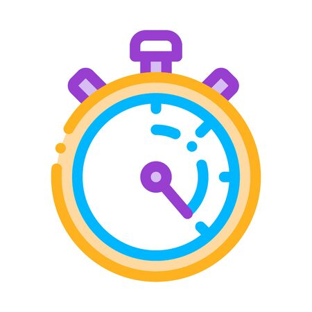 Laundry Service Stop Watch Vector Thin Line Icon. Laundry Service Timer, Washing Clothes Dress Linear Pictogram. Laundromat, Dry-Cleaning, Launderette, Stain Removal Illustration