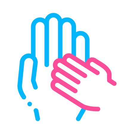 Child Volunteers Support Vector Thin Line Icon. Volunteers Support, Charitable Organizations, Adoption Childship Little Hand On Big Linear Pictogram. Blood Donor Illustration