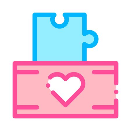 Volunteers Support Game Box Vector Thin Line Icon. Volunteers Support, Help Charitable Organizations, Heart On Package With Playing Puzzle Element Detail Linear Pictogram. Illustration