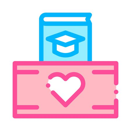 Volunteers Support Study Box Vector Thin Line Icon. Volunteers Support, Help Charitable Organizations, Heart On Package Linear Pictogram. People Silhouette Blood Donor Illustration