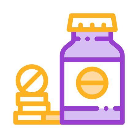 Bio Supplements Drugs Bottle Vector Thin Line Icon. Sportsman Plastic Container With Healthy Balancer Drugs Linear Pictogram. Dietary Protein Ingredient, Bar Bodybuilding Illustration Ilustração Vetorial