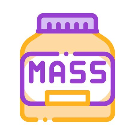 Mass Bottle Sport Nutrition Vector Thin Line Icon. Bio Balancers Healthy Muscle Sportsman Nutrition Package Linear Pictogram. Dietary Protein Ingredient, Bar Bodybuilding Illustration