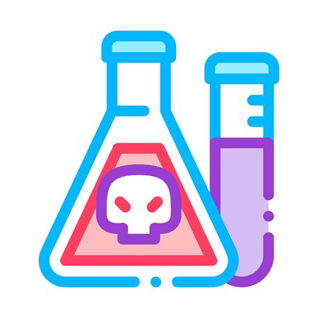 Flask With Chemical Liquid Vector Thin Line Icon. Chemical Toxic Poison In Container Environmental Pollution, Radiological Contamination Linear Pictogram. Contour Illustration