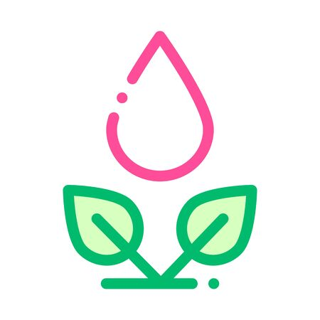 Drop Watering Leaves Bush Vector Thin Line Icon. Organic Cosmetic, Natural Component Bush Plant Leaf Linear Pictogram. Eco-friendly, Cruelty-free Product, Molecular Analysis Contour Illustration