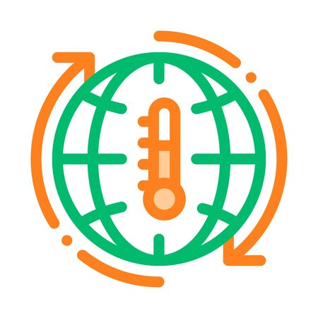 High Temperature Problem Vector Thin Line Icon. Thermometer Global Warming Warm Planet Earth Environmental Industrial Pollution, Contamination Linear Pictogram. Climate Change Contour Illustration