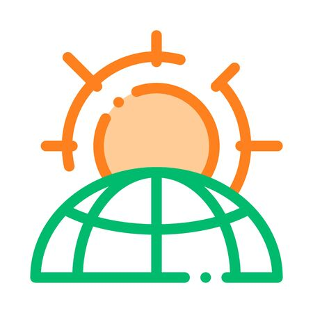Warming Sun Planet Problem Vector Thin Line Icon. Global Warming Environmental Industrial Pollution, Contamination Linear Pictogram. Greenhouse Effect, Climate Change Contour Illustration