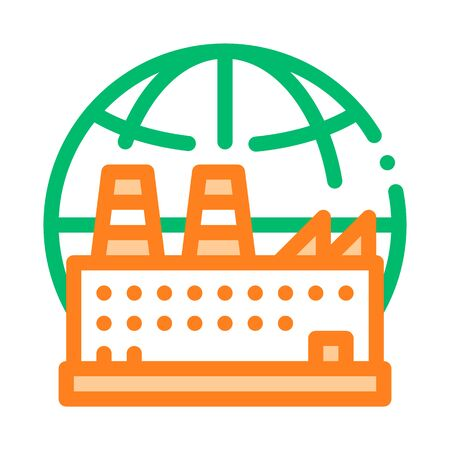 Industrial Factory Planet Vector Thin Line Icon. Build Factory Plant Environmental Problem, Industrial Pollution Linear Pictogram. Greenhouse Effect Global Warming Contour Illustration Illustration