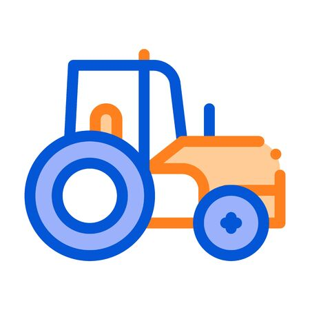 Farmland Tractor Vehicle Vector Thin Line Icon. Agricultural Farm Tractor For Different Type Trailer. Transportation Harvesting Machine Linear Pictogram. Illustration