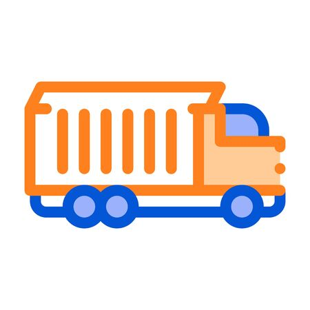 Agricultural Cargo Truck Vector Thin Line Icon. Truck For Delivery Corn Grain Farm Product. Machinery Transport Linear Pictogram. Irrigation Machine Combine Illustration