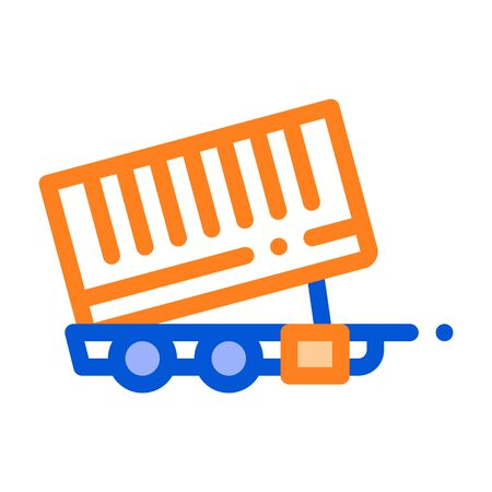 Agricultural Cargo Trailer Vector Thin Line Icon. Truck Trailer For Delivery Corn Grain. Machinery Transport Linear Pictogram. Irrigation Machine Combine Illustration