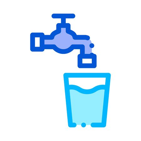 Faucet With Water Glass Vector Sign Thin Line Icon. Water Glass With Crane Tap Linear Pictogram. Recycling Environmental Ecosystem Plumbing Industry Contour Illustration