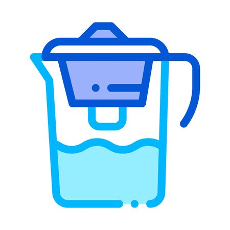 Healthy Water Home Filter Vector Thin Line Icon. Filtered Healthcare Water, House Office Equipment Linear Pictogram. Recycling Environmental Ecosystem Plumbing Industry Contour Illustration