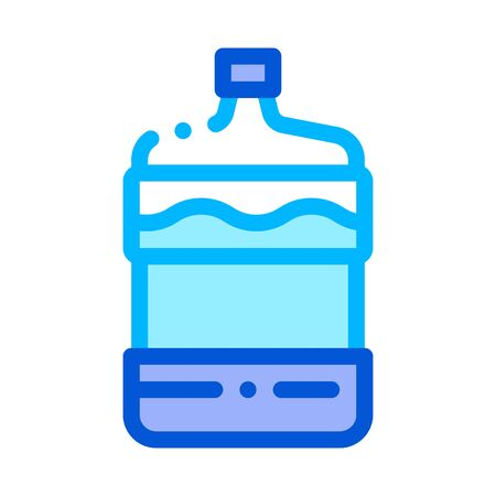Healthy Water Bottle Vector Sign Thin Line Icon. Filtered Healthcare Water, Liquid Treatment Linear Pictogram. Recycling Environmental Ecosystem Plumbing Industry Contour Illustration