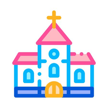 Church Building For Wedding Ceremony Vector Icon Thin Line. Church Celebration Day Linear Pictogram. Party Preparation And Marriage Template Contour Concept Illustration Banque d'images - 137736903