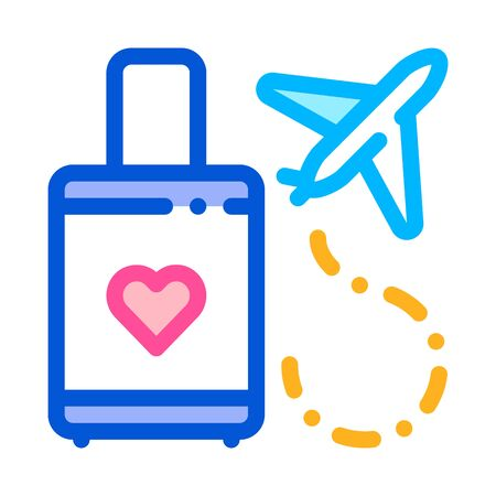 Valise And Airplane Honeymoon Trip Vector Icon Thin Line. Valise With Love Symbol Heart Linear Pictogram. Party Preparation And Marriage Template Contour Concept Illustration