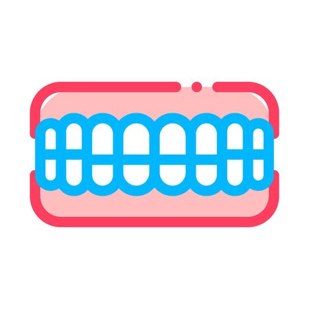 Set Of False Teeth Stomatology Vector Sign Icon Thin Line. Stomatology Dentist Instrument Equipment And Device Linear Pictogram. Medical Treatment Therapy Dentistry Contour Illustration