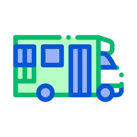 Public Transport Paratransit Vector Sign Icon Thin Line. Paratransit Mini Bus, Urban Passenger Transport Linear Pictogram. City Transportation Passage Service Contour Illustration