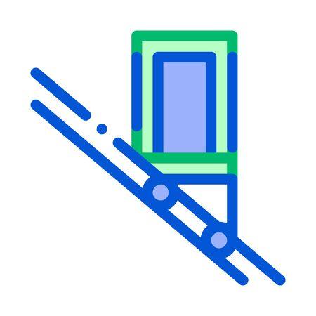 Public Transport Inclined Elevator Vector Icon Thin Line. Inclined Elevator Machine, Urban Passenger Transport Linear Pictogram. City Transportation Passage Service Contour Illustration