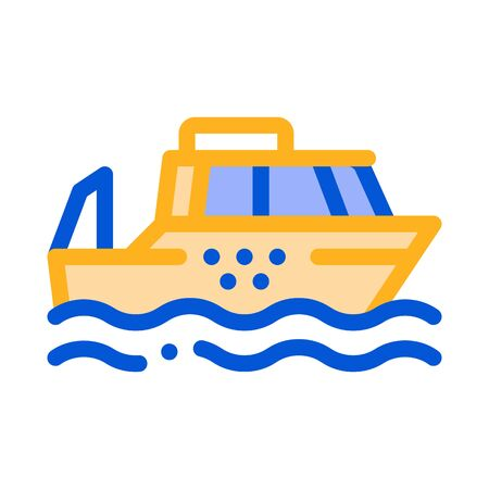 Public Transport Water Taxi Vector Thin Line Icon. Sea River Ship Taxi Ferrying, Urban Passenger Transport Linear Pictogram. City Transportation Passage Service Contour Illustration