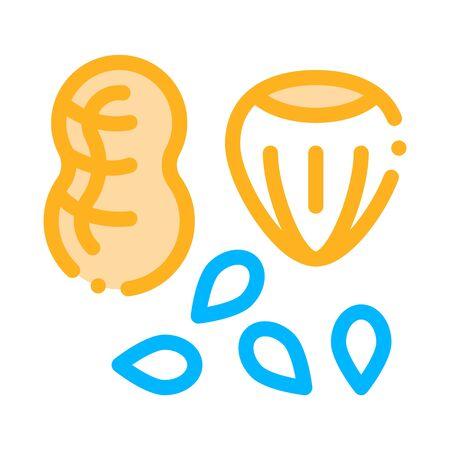 Assortiment D'aliments Sains Noix Vecteur Ligne Mince Icône. Bio Eco Nuts Arachide, Aveline Noisette Et Graines Pictogramme Linéaire. Bio Santé Vitamine Délicieuse Nutrition Illustration Contour Vecteurs