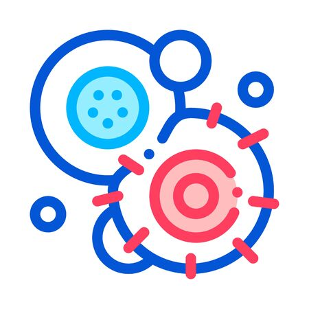 Cancerous Stem Cell Pathogen Element Vector Icon Thin Line Sign. Pathogen Bacteria Attack Linear Pictogram. Chemical Microbe Type Infection Microorganism Contour Illustration
