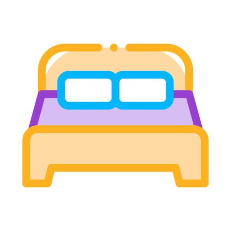 Motel Comfortable Double Bed Vector Thin Line Icon. Bedroom Twin Room Bed, Hotel Performance Of Service Equipment Linear Pictogram. Business Hostel Items Contour Illustration