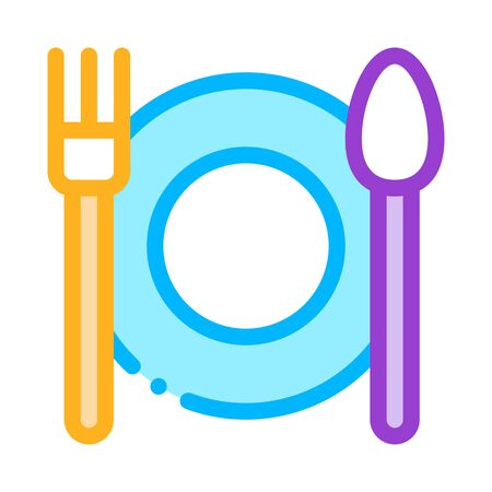 Plate Fork And Spoon Vector Sign Thin Line Icon. Plate With Flatware Restaurant Mark, Hotel Performance Of Service Equipment Linear Pictogram. Business Hostel Items Contour Illustration Illustration