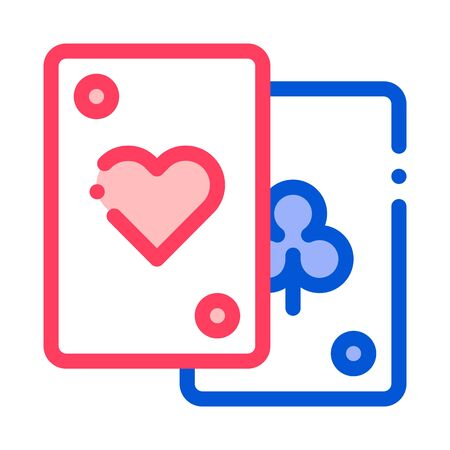 Game Element Cards Vector Thin Line Sign Icon. Detail Of Table Or Adult Gamble Game Pocker, Playing Gaming Items Figure Pieces Linear Pictogram. Joyful Things Contour Illustration Illustration