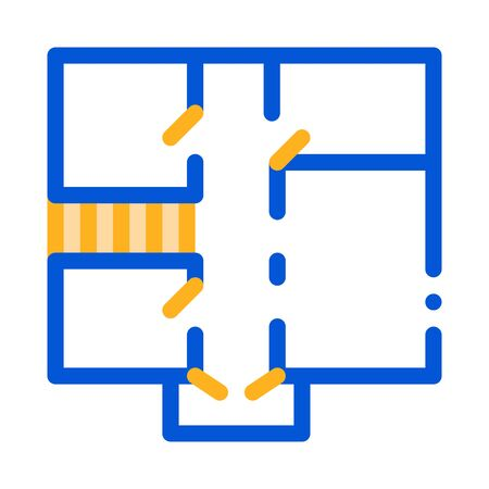 House Apartment Planning Vector Thin Line Icon. Planning Project Premise Room Linear Pictogram. Mortgage On Real Estate, Rent, Buy Or Sale Building Garage Contour Monochrome Illustration