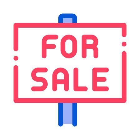 Tablet For Real Estate Sale Vector Thin Line Icon. Announcement Tablet Sale Housing Market Manager Brocker Dealer Equipment Linear Pictogram. Apartment, Building, Garage Contour Illustration