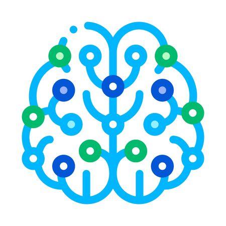 Artificial Intelligence Brain Vector Sign Icon Thin Line. Artificial Intelligence Elements Sensing Device Linear Pictogram. Technology Support, Cyborg, Microchip Contour Illustration Ilustração