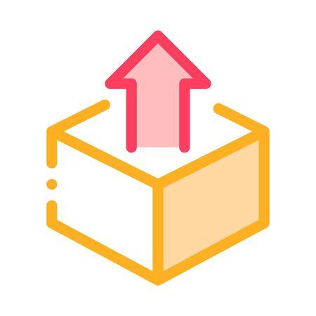 Boîte Conteneur Avec Flèche Agile Element Vector Icon Fine Line. Fusée agile et document, équipement et emballage, haut-parleur et illustration du chronomètre