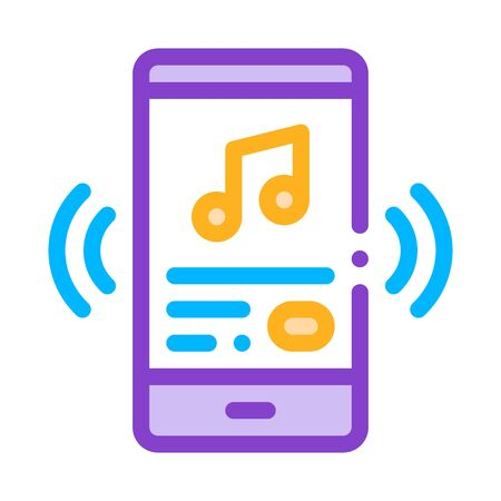 Listening Music Song In Smartphone Vector Icon Thin Line. Musical Notes And Headphones, Concert, Opera And Karaoke Music Concept Linear Pictogram. Illustration 일러스트