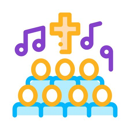 Church Choir Singing Song Concert Vector Icon Thin Line. Microphone And Dynamic, Concert And Theater, Opera And Karaoke Concept Linear Pictogram. Illustration Ilustração