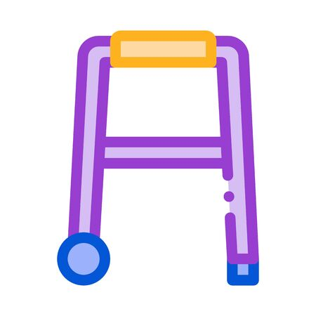 Walker Orthopedic Equipment With Rollers Vector Icon Thin Line. Orthopedic And Trauma Rehabilitation, Belt And Wheelchair Concept Linear Pictogram. Medical Rehab Goods Illustration Çizim