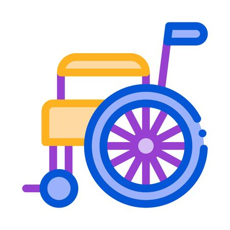 Self-Propelled Wheelchair Equipment Vector Icon Thin Line. Orthopedic And Trauma Rehabilitation, Belt And Wheelchair Concept Linear Pictogram. Medical Rehab Goods Illustration