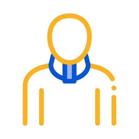 Orthopedic Cervical Collar For Neck Support Vector Icon Thin Line. Orthopedic And Trauma Rehabilitation, Belt And Walkers Concept Linear Pictogram. Medical Rehab Goods Illustration Ilustração