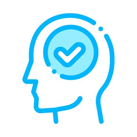 Approved Mark In Man Silhouette Mind Vector Icon Thin Line. Gear And Brain, Heart And Shield, Padlock And Coin Illustration