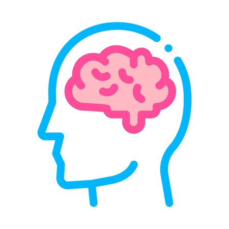 Human Brain In Man Silhouette Mind Vector Icon Thin Line. Gear And Brain, Heart And Shield, Padlock And Coin Mark Illustration