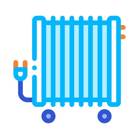 Portable Oil Radiator Heating System Vector Icon Thin Line. Cool And Humidity, Airing, Ionisation And Heating Illustration