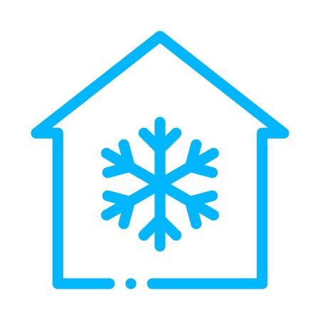 Building And Snowflake Cooling Equipment Vector Icon Thin Line. Cool And Humidity, Airing, Ionisation And Heating Illustration