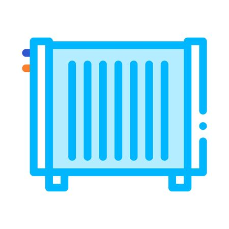 Home Water Radiator Heating Equipment Vector Icon Thin Line. Cool And Humidity, Airing, Ionisation And Heating Illustration Ilustrace