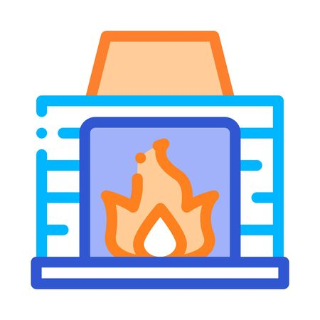 Fireplace With Fire Flame Heating Equipment Vector Icon Thin Line. Cool And Humidity, Airing, Ionisation And Heating Illustration