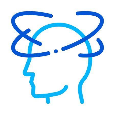 Vertigo Dizziness Man Silhouette Headache Vector Icon Thin Line. Tension And Cluster Headache, Migraine And Stress Symptom Illustration