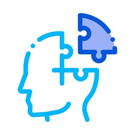 Puzzle Detail Man Silhouette Headache Vector Icon Thin Line. Tension And Cluster Headache, Migraine And Brain Symptom Illustration